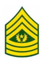 Army E-9 Command Sergeant Major Outside Window Decal