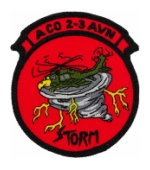 Army 2nd Battalion 3rd Aviation Regiment  A Company Patch with Storm Patch with Velcro (Iraq) (Dress)