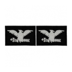 Embroidered Rank Silver on Black Colonel Patch (Pair)