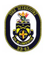 USS Missouri BB-63 Ship Patch