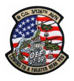 B Company / 3rd Squadron 126th Aviation Regiment OEF Patch