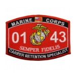 USMC MOS 0143 Career Retention Specialist Patch