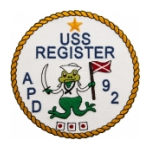 USS Register APD-92 Ship Patch