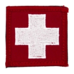 White Cross Morale Patch With Hook Backing