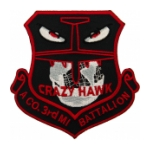 A Company / 3rd Military Intelligence Battalion (Crazy Hawk) Patch