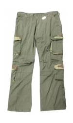Vintage Style 8 Pocket BDU Pants Washed (Olive Drab with Woodland Camo Accents)