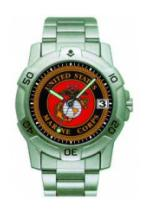 RAM Sports Chrome Watch with Date Display (Marines)