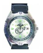 RAM Diver Watch with Date Display Silver Face (Marine)