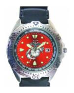 RAM Diver Watch with Date Display Red Face (Marine)