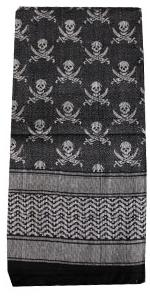 Shemagh Tactical Desert Scarf (Black and White skulls)