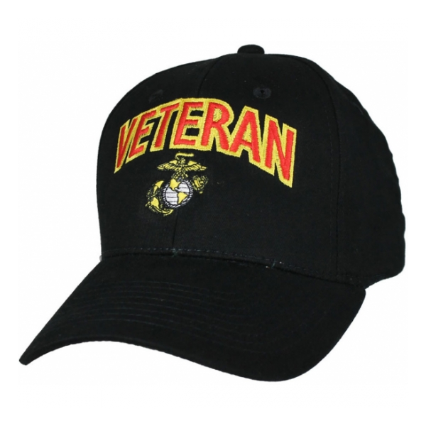 Marine Corps Veteran Cap With Ega Black Flying Tigers