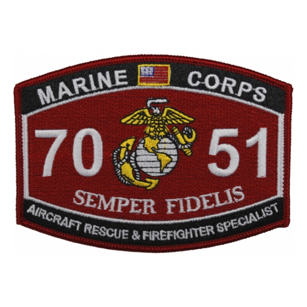 USMC MOS 7051 Aircraft Rescue and Firefighter Specialist Patch