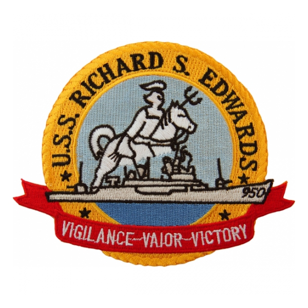 USS Richard S Edwards DD-950 (Vigilance-Valor-Victory) Ship Patch