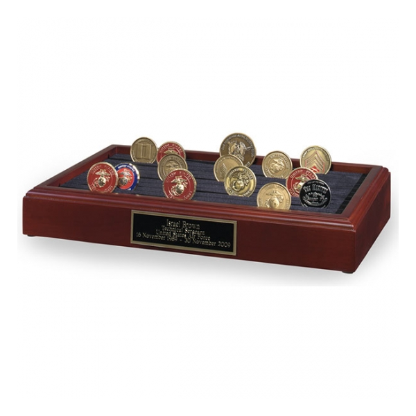 11 Row Challenge Coin Rack Display (Cherry)