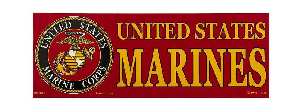 """Marine Corps Veteran Bumper Sticker 9 1//2/"""" S U"""